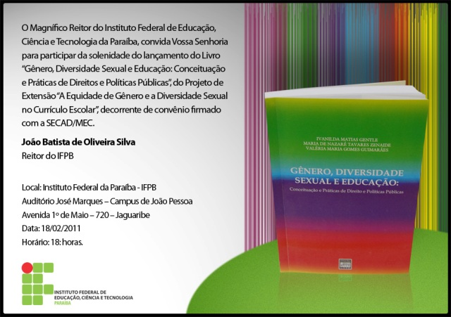 """Livro """"Gênero, Diversidade Sexual e Educação"""" será lançado nessa sexta"""