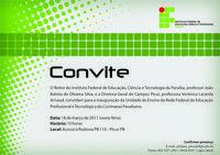 Reserve sua vaga para a inauguração do Campus Picuí